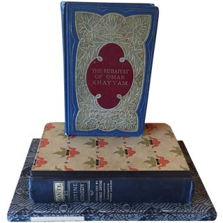 20th C. Decorative Red & Blue Books - Set of 3