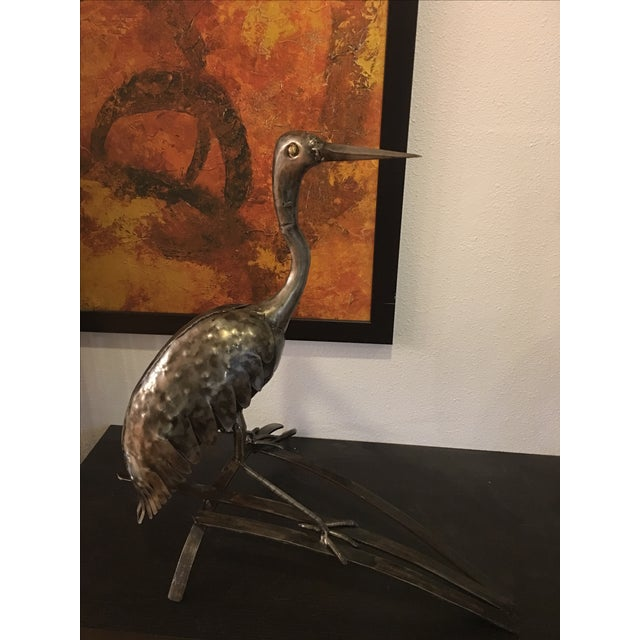 Metal Bird Heron Statue - Image 5 of 5