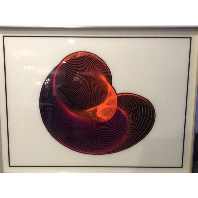Mid-Century Modern Op Art Spirograph Painting - Image 4 of 10