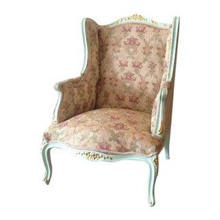 Louis XVI Green Italian Wingback Chair