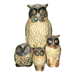 Porcelain Owl Figurines - Set of 4