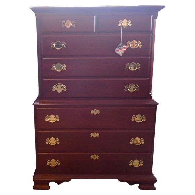 Image of Colonial Furniture Cherry Chest on Chest