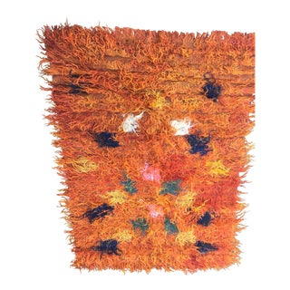 Vintage Orange Sheepskin Shag Rug - 3' X 5'