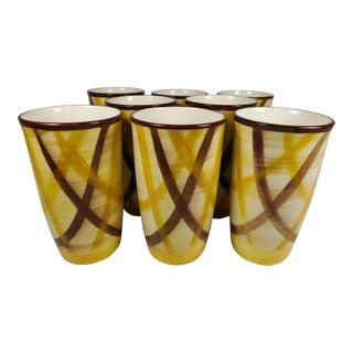 Vernonware Plaid Pottery Tumblers- Set of 8