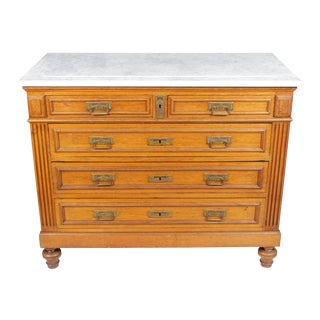 1920s Gustavian-Style Marble-Top Commode