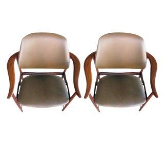 Pair of Danish 1960s Teak Armchairs, Leather Upholstery, by Arne Hovmand-Olsen