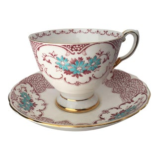 Floral Fine English Bone China Tea Cup & Saucer