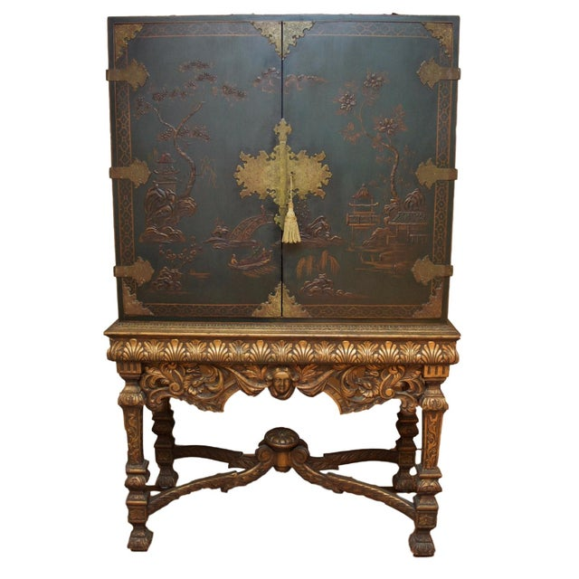 Hunter Green Vintage Chinoiserie Cabinet With Rais - Image 1 of 10
