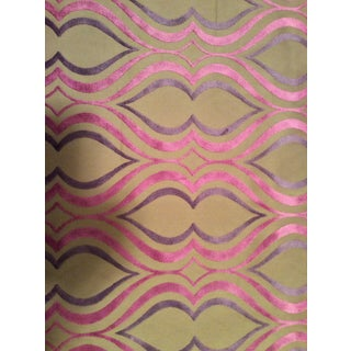 Designers Guild Tan, Pink & Purple Cut Velvet Fabric- 4 Yards