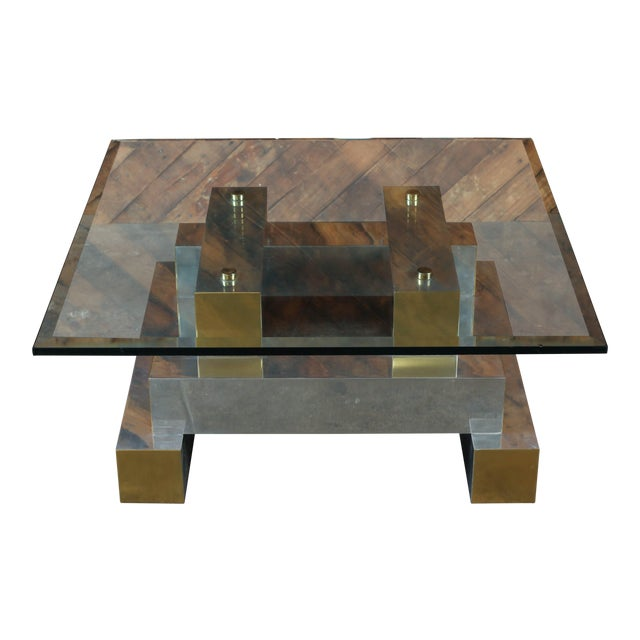 Paul Evans Style Vintage Chrome & Brass Coffee Table - Image 1 of 7