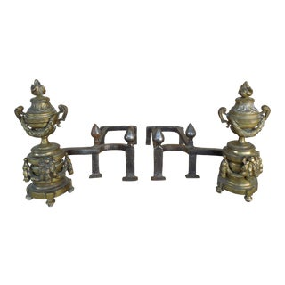 Antique Brass Urn & Flame Andirons - A Pair