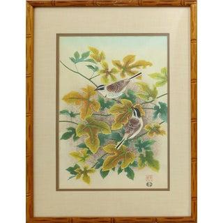 Vintage Japanese Bird Wood-Block Print