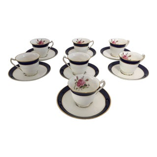 Vintage English Porcelain Demitasse Service - Set of 7