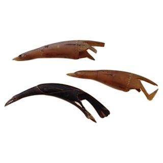 Carved Horn Birds - Set of 3