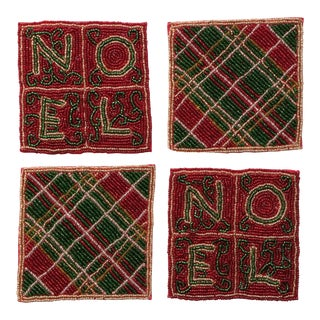 Beaded Plaid Noel Christmas Coasters - Set of 4
