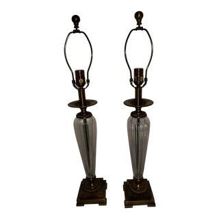 Regency Column Clear Glass Lamps - a Pair