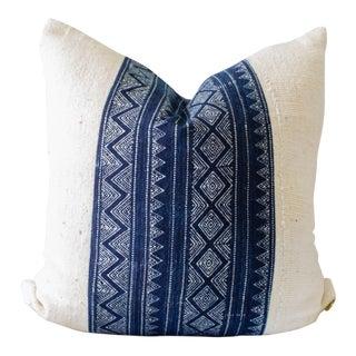 """Indigo Batik & White Mudcloth Pillow Cover - 18"""" X 18"""""""
