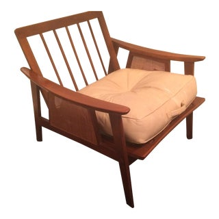 Mid-Century Low-Slung Wood Arm Chair