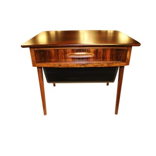 1960s Danish Mid-Century Solid Rosewood Side Table / Sewing Table