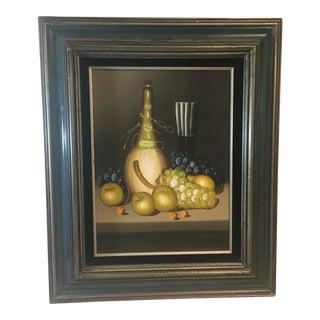 Vintage Fruit & Wine Still Life Oil Painting