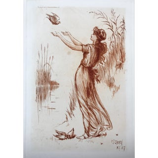 Art Nouveau Woman Etching by Frederick Church 1887