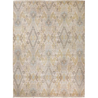Beige and Slate Ikat Area Rug - 8' X 10""