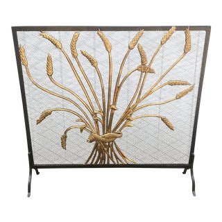 Hollywood Regency Style Brass & Metal Fire Screen
