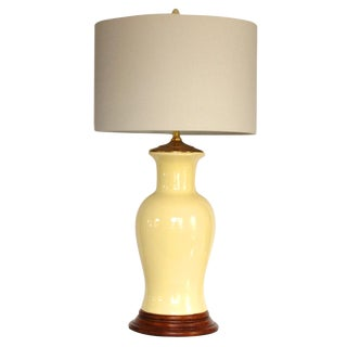 Vintage Yellow Ceramic Lamp on Fruitwood Base