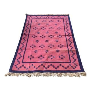 Vintage Indian Pink & Blue Kilim Rug - 4′1″ × 6′7″