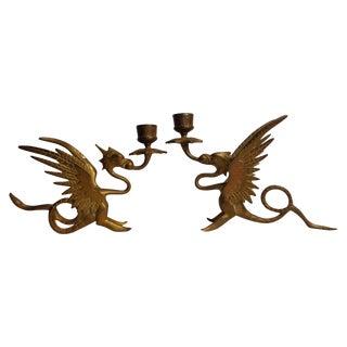 Brass Dragon Candlesticks - Pair