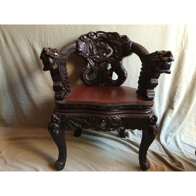 Antique Chinese Elaborately Carved Dragon Chair - Image 2 of 5 - Antique Chinese Elaborately Carved Dragon Chair Chairish