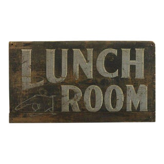 """1920s Hand Painted """"Lunch Room"""" Wood Sign"""