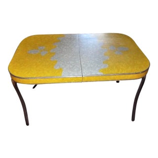 Mid-Century Modern Yellow and Silver Formica Top Table