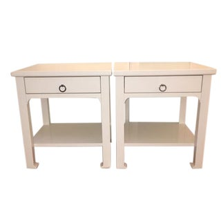 Jonathan Adler White Lacquer Bedside Tables - Pair