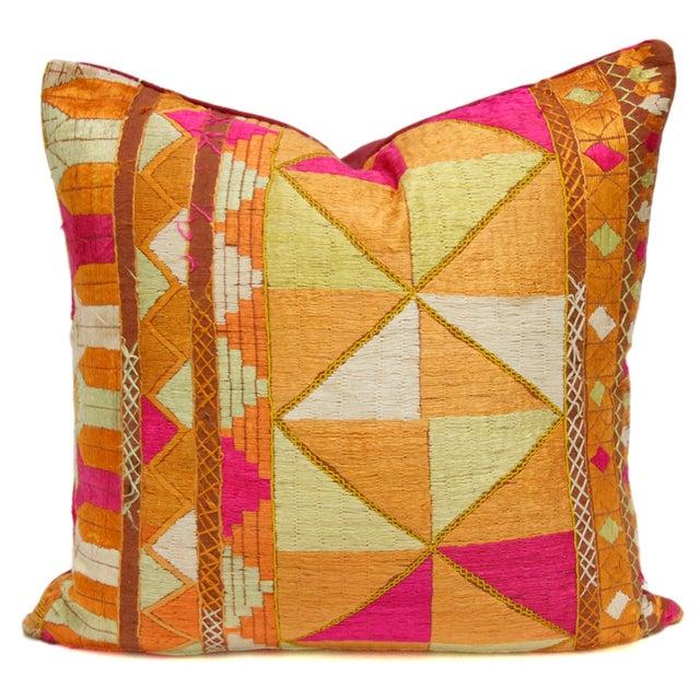 Image of Silken Bagh Phulkari Pillow