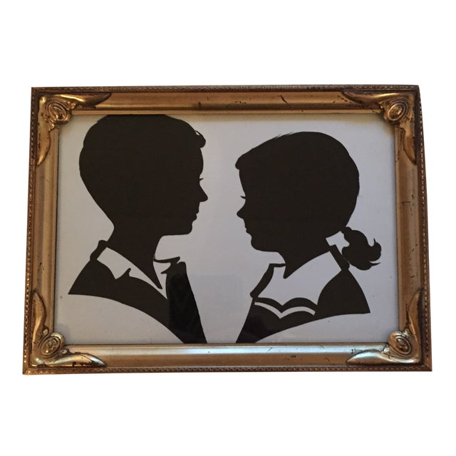 Image of Vintage Silhouette Print in Gold Frame