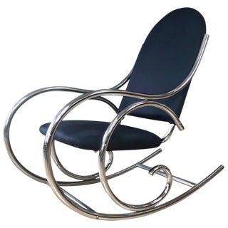 Thonet Style Curvaceous Upholstered Chrome Rocking Chair