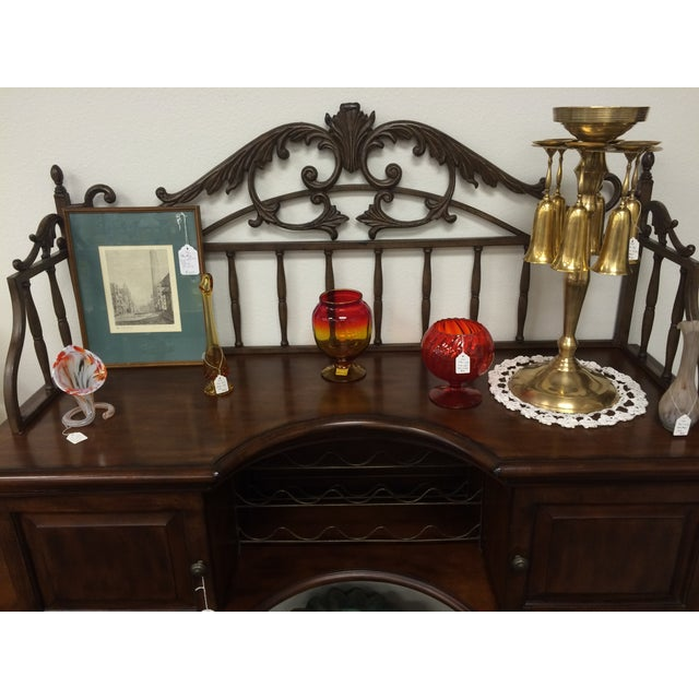 Beautiful Wrought Iron & Dark Wood Buffet - Image 9 of 10