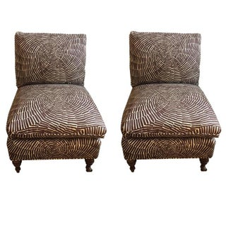 Brown and White Slipper Chairs - A Pair