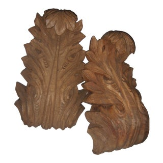 Carved Wood Brackets, Acanthus Leaf Motif - Pair