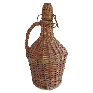 Vintage French Country Wicker Demijohn