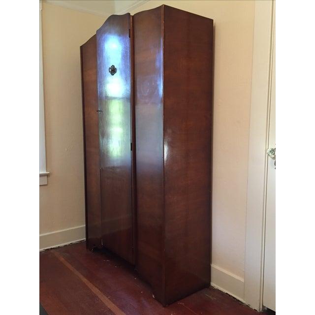 Mid-Century Deco Style Walnut Armoire - Image 3 of 11