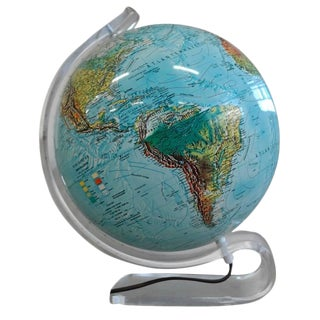 Mid-Century Lucite Light Up World Globe
