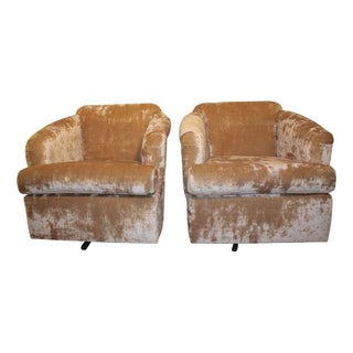 Vintage Crushed Velvet Swivel Chairs