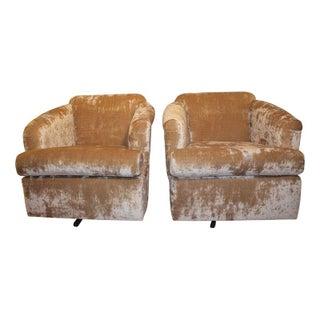 Vintage Crushed Velvet Swivel Chairs