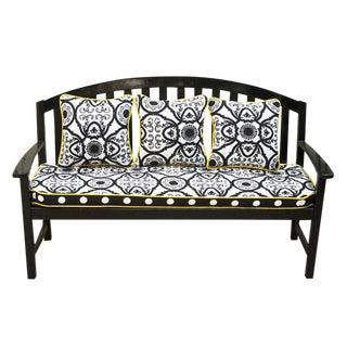 Outdoor/Indoor High Gloss Black Teak Settee