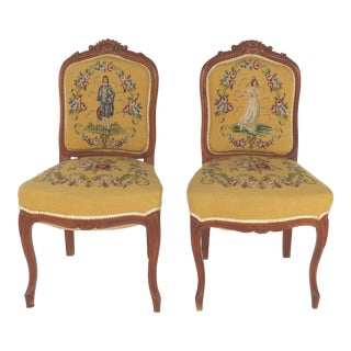 Needlepoint Upholstered Side Chairs- a Pair