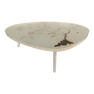 Biomorphic Painted Glass Top Coffee Table