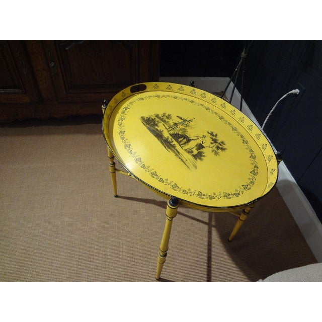 Italian Neoclassical Style Tole Tray Table - Image 4 of 7