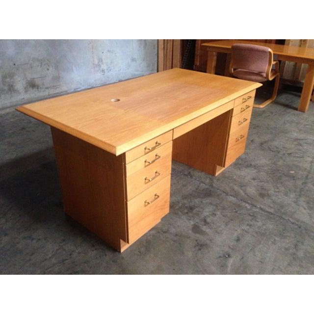 Executive Desk Light Oak: Mid-Century Modern Light Oak Executive Desk